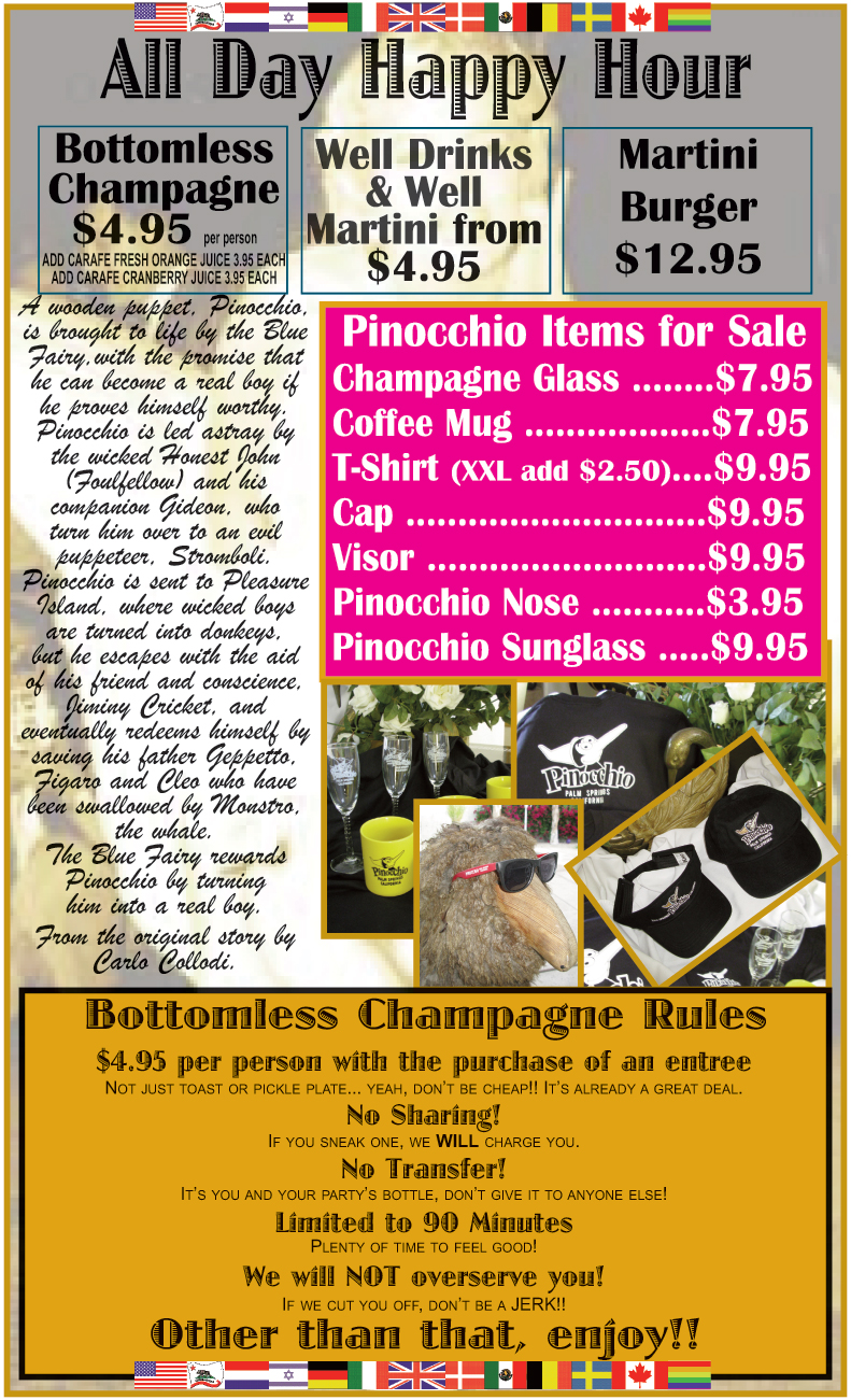 COLLECTIBLES MENU - Pinocchio items for Sale, Champagne Glass, Coffee Mugs, T-Shirts, Caps, Visors, Pinocchio Nose, Pinocchio Sunglasses