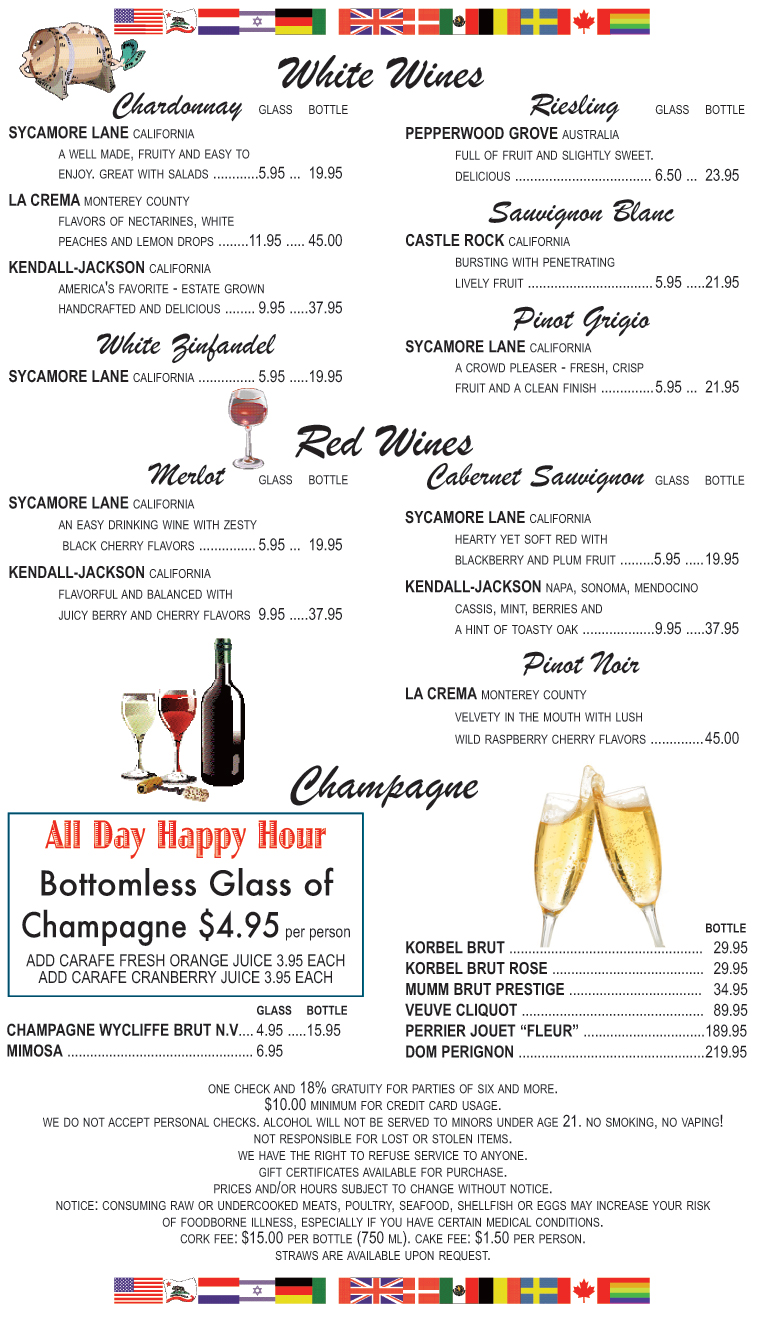 WINE MENU - White Wines by the glass or bottle, Red Wines by the glass or bottle, Champagne's by the bottle and our INFAMOUS Bottomless Champagne
