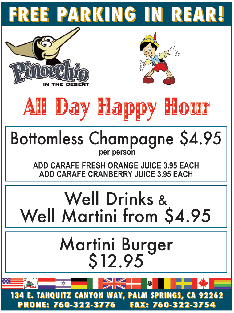 FREE PARKING IN REAR! All Day Happy Hour, Bottomless Champagne $4.95, Well Drinks & Well Martini from $4.95, Martini Burger $12.95