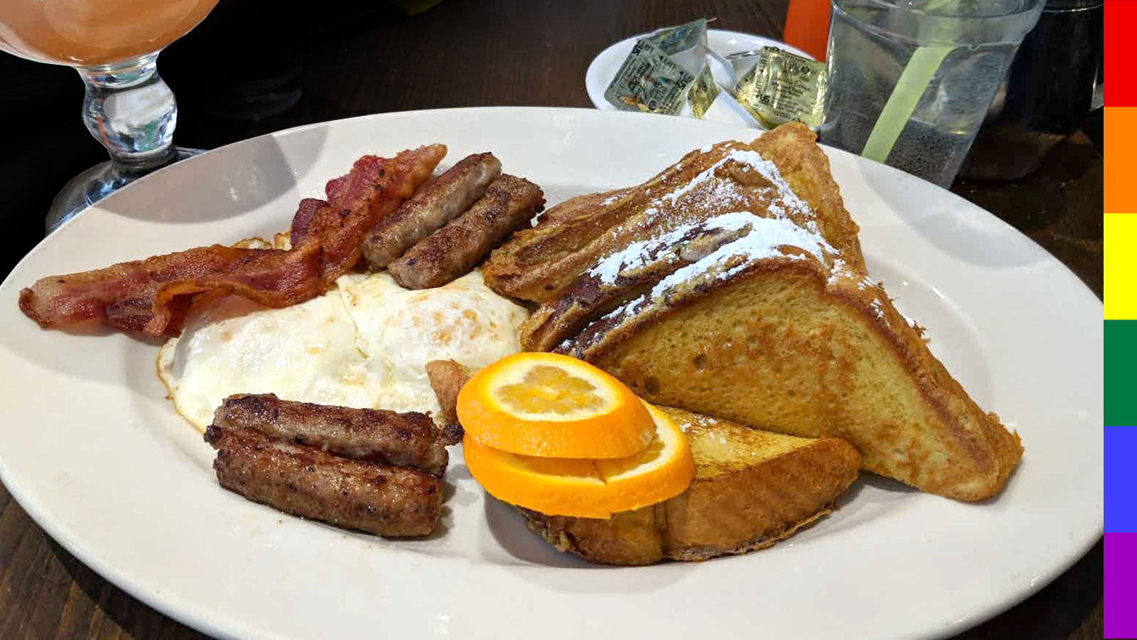 French Toast with Sausage, Bacon and Eggs