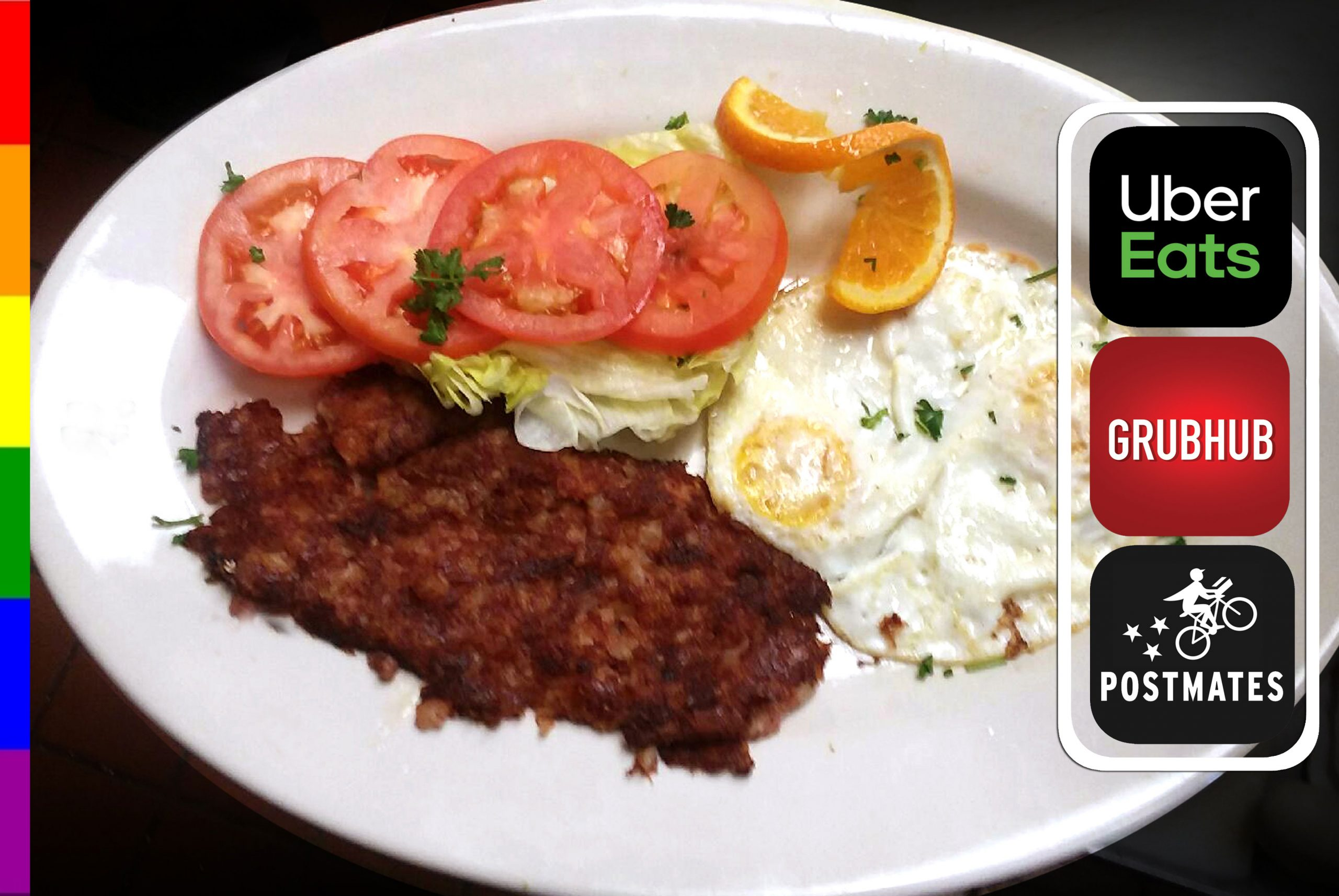 CORNBEEF HASH & EGGS with SLICED TOMATO